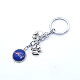 2017 Fashion Football Key Chain New England Patriots Charm Keychain Car Keyring for Women Men Keyrings Gifts Party Wedding Birth