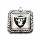 2017 Hot New Football Sports Oakland Raiders Team Glass Pendant Fit Fashion DIY Jewelry Bangles Breacelet Necklace 10pcs/lot