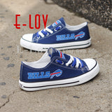 2017 Hot Sale Buffalo Bills Print Leisure Shoes Fans Custom-made Print Canvas Shoes Boys Gift Low Top Color Lace Blue Shoes