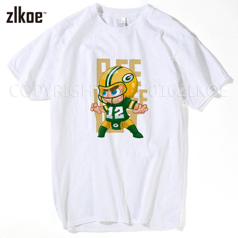 2017 Men T-shirt Big Beard #12 Aaron Rodgers Tees Short Sleeve Green Bay T SHIRT Men's Packers M-XXXL
