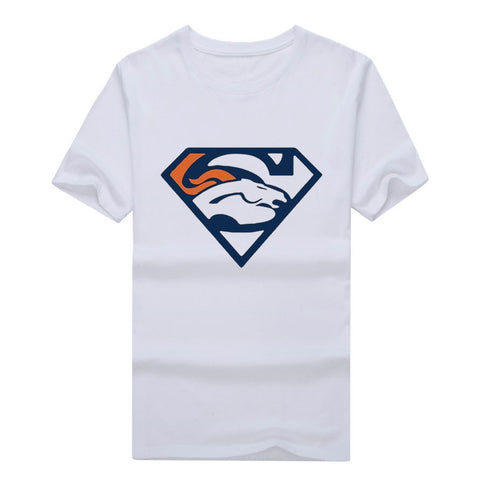 2017 Men's Denver Team Superman Logo Cool T Shirt Printed Casual Eagles Tees 100% cotton for Broncos
