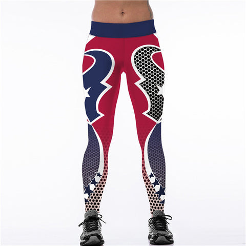 2017 New Houston Texans Logo Fitness Leggings Elastic Fiber Hiphop Party Cheerleader Rooter Workout Pants Trousers