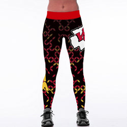 2017 New Kansas City Chiefs Logo Fitness Leggings Elastic Fiber Hiphop Party Cheerleader Rooter Workout Pants Trousers Dropship