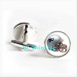 2017 wholesale New England Patriots Team Helmet Cufflinks Rugby Football Team Cuff Shirt Cufflinks Women