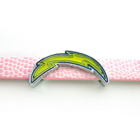 20Pcs Los Angeles Chargers Slide Charms 8mm Alloy With Enamel Football Team Slide Charms Fit Pet Collar DIY Necklace & Bracelet