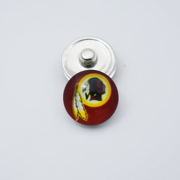 20pcs Football Washington Redskins Team Metal Button Snaps Sports Jewelry Fit For 18MM Button Snap Charm Bracelet