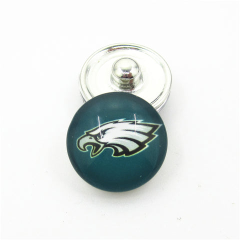 20pcs/lot Philadelphia Eagles USA Teams Snap Buttons DIY 18mm Glass Football Sports Ginger Snap Jewelry Bracelets&Bangles