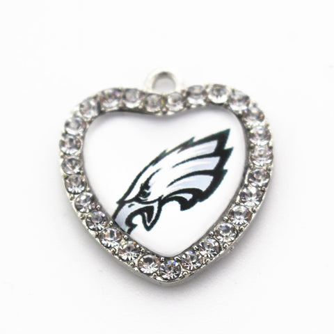 20pcs/lot USA Football Fashion Jewelry Sports Philadelphia Eagles Glass Heart Crystal Dangle Charms for pendant necklace