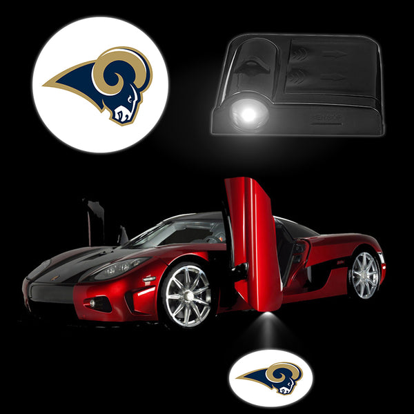 2PCS/Set Smart Auto LED Car Logo Lights LOS ANGELES RAMS Wireless Car Door Lamps Interior Lights Car Electronic Accessories
