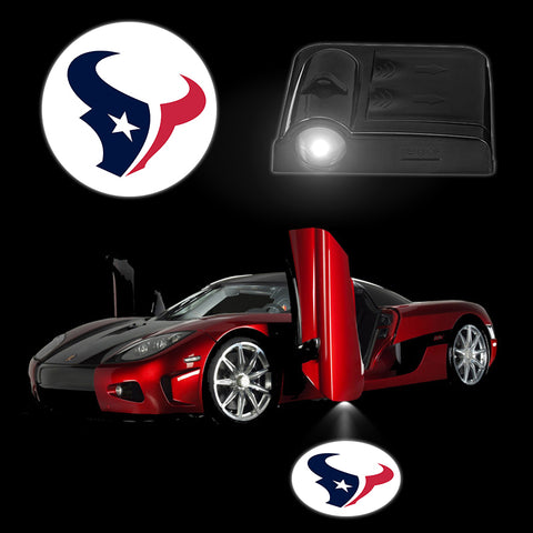2PCS/Set Smart LED Car Lights Wireless Car Logo Door Lamp HOUSTON TEXANS LED Battery Lighting Car Interior Decoration Auto