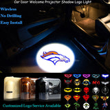 2x Denver Broncos Logo Wireless Senor Car Door Welcome Ghost Shadow Puddle Spotlight Laser Projector LED Light (NFL11)