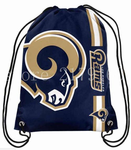 35*45 cm USA free shipping Los Angeles Rams drawstring backpack with 110 g knitted polyester material
