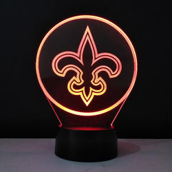 3D Led Light Team Logo New Orleans Saints Bedside Table Lamp Atmosphere LED Flexible LED Luminaria Colorful Baby Veilleuse