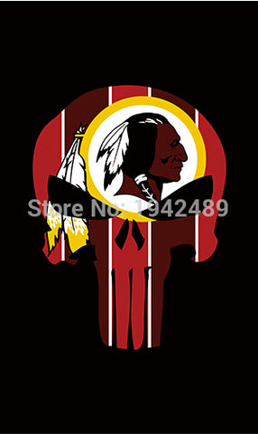 3X5FT Washington Redskins flag P unisher banner  100D Polyester Flag metal Grommets  free shipping