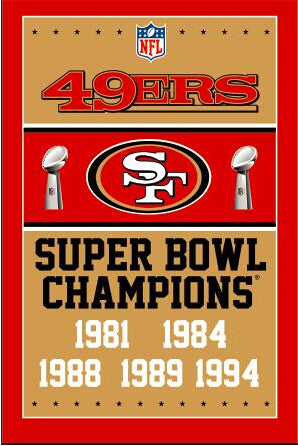 3ftx5ft  San Francisco 49ers champions ship flag 100D polyester digital printed banner  metal Grommets free shipping