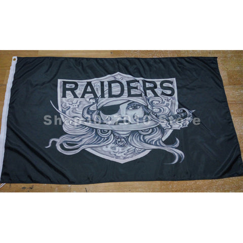3x5 FT RAIDERS ARTWORK FLAG 100% POLYESTER Oakland Raiders flag