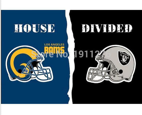 3x5 ft  Los Angeles Rams VS Oakland Raiders house divided flag 150x90cm 2 metal grommets