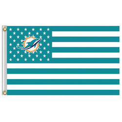3x5ft Miami Dolphins USA Football Flag NFL Stars and Stripes flag 90x150cm polyester banner 100D