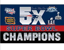3x5ft New England Patriots 5X Super Bowl Champions flag 90x150cm digital print banner with 2 Metal Grommets