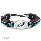 4 Style Philadelphia Eagles Football Team Leather Bracelet Adjustable Mens Leather Bracelet For Men and Women 10 PCS