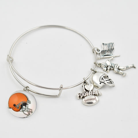 5 PCS Cleveland Brown Football Team 18MM Snap Button Dangle Charms Bracelet With Silver Dangle Extensile Bracelet Bangle