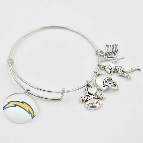 5 PCS Silver Los Angeles Charger Extensile Bangle I Love Football Dangle Heart 18MM Snap Button Dangle Charms Adjustable Bangle