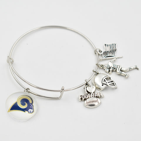 5 PCS Silver Los Angeles Ram Adjustable Bracelet  I Love Football Dangle Heart 18 MM Snap Button Dangle Charms Bracelet Bangle