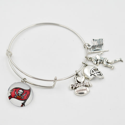 5 PCS Tampa Bay Buccaneers Adjustable Bracelet  I Love Football Dangle Heart 18MM Snap Button Dangle Extensible Bracelet