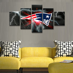 5 Panel Art HD Printed New England Patriots Flag Wall Art Picture Home Decor Living Room Canvas Wall Picture Printing On Canvas