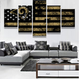 5 Panel Los Angeles Rams Sport Flag Logo Canvas Poster For Sport Fan As A Birthday Gift HD Canvas Painting For Home Decoration