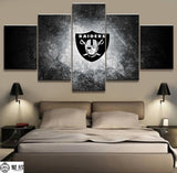 5 Panel NFL Oakland Raiders Rugby Canvas Printed Painting For Living Room Picture Wall Art Print Decor Modern Artworks Poster