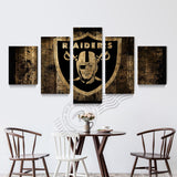 5 Panel Oakland Raiders Sport Flag Canvas Poster Painting On Canvas Home Decor Wall Picture Art Modern Prints Unframd BR0165