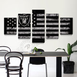 5 Panel Oakland Raiders Sport Flag Canvas Poster Painting On Canvas Home Decor Wall Picture For Living Room Print Unframd BR0164