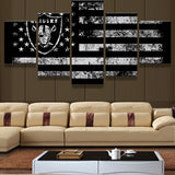 5 Panel Oakland Raiders Sport Flag Logo Fans Oil Painting On Canvas Modern Home Pictures Prints Liveing Room Deco Fans Posters