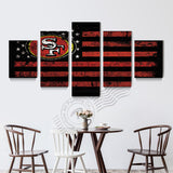 5 Panel San Francisco 49ers Flag Canvas Poster Painting On Canvas Home Decor Wall Picture For Living Room Prints Unframd BR0163