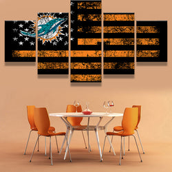5 Panel/Set Miami Dolphin Sports Flag Logo Modern Home Wall Decor Canvas Picture Art HD Print Painting On Canvas For Living Room