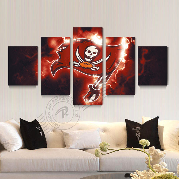 5 Panel Tampa Bay Buccaneers Sport Logo Canvas Poster Painting Canvas Wall Pictrure For Bed Room Modern Print Unframd BR0189