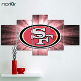 5 Pcs Canvas Painting Wall Art San Francisco 49ers Logo Printed Poster Home Decor Posters Unframed