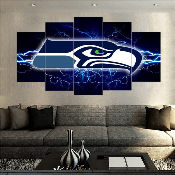 5 Pcs New Arrivals Seattle Seahawks Sports Team Spray Painting On Canvas Europe Home Pictures Prints Living Boys Room Deco