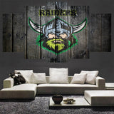 5 Pieces Canberra Raiders Oakland Raiders Sports Team Logo Oil Painting On Canvas Modern Home Pictures Prints For Living Room