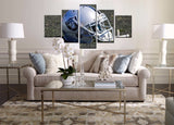 5 Pieces HD Canvas Painting Art Oakland Raiders Rugby Helmet Paintings on Canvas Wall Art for Home Decorations Wall Decor Art