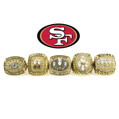 5 pcs/set Charms Sports jewelry San Francisco 49ers 1981 1984 1988 1989 1994 Super Bowl Championship Rings set Wooden Box