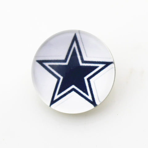50pcs18mm Dallas Cowboys USA Football Glass Snap Buttons Charms Fit Snap Bracelet DIY Jewelry