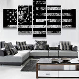 5P Oakland Raiders Sport Flag Logo Fans Oil Painting On Canvas Modern Home Pictures Prints Liveing Room Deco Fans Posters gg351