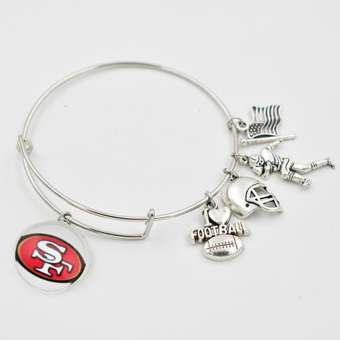 5PCS Silver San Francisco 49er Extensible Bracelet  I Love Football Dangle Heart 18MM Snap Button Dangle Charms Bangle