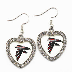6pairs/lot Silver Heart Glass Long Earrings Charms Football Sports Atlanta Falcons Team For Women Crystal Earring Jewelry