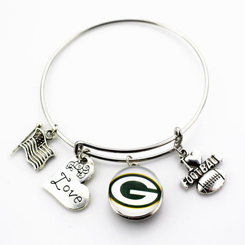 6pcs Green Bay Packers Football football ginger snap button bracelet jewelry expandable adjustable wire hook bracelet&bangles