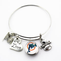 6pcs Miami Dolphins Charm team football sports ginger snap bracelet jewelry expandable adjustable wire hook bracelet&bangles