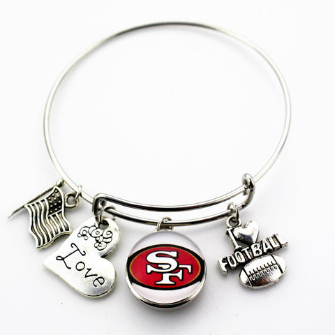 6pcs San Francisco 49ers Football football sports ginger snap bracelet jewelry expandable adjustable wire hook bracelet&bangles