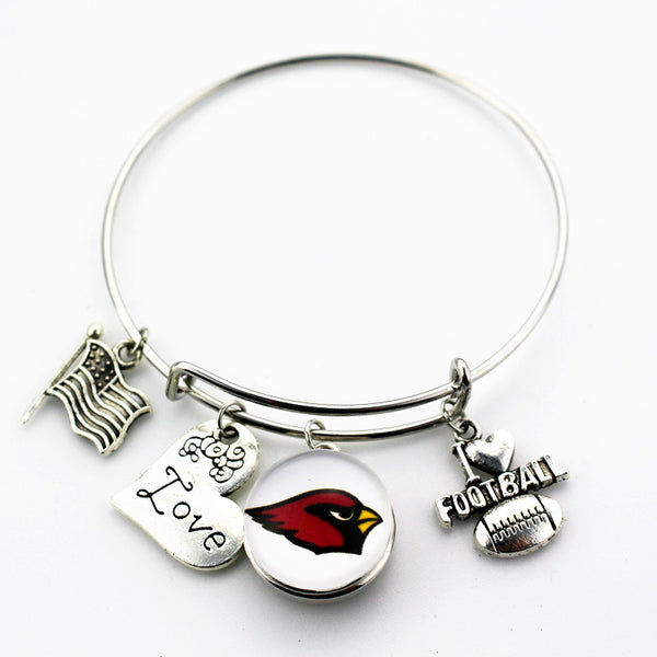 6pcs/lot Adjustable Arizona Cardinals Snap Bracelet I Love Football Charms Fashion Bangle Jewelry For Sports Fan